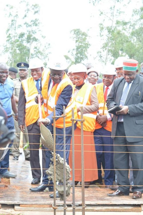 Vihiga Governor Dr. Wilber Ottichilo laying the foundation for the Governor's residence