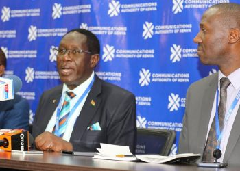 Outgoing CA Director General Francis Wangusi (centre) opposed the appointment of Mercy Wanjau as CA boss