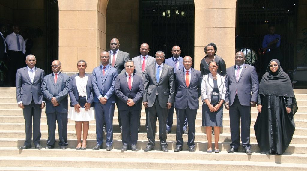 Chief Justice David Maraga (centre) after swearing-in the members of the tribunal at the Supreme Court