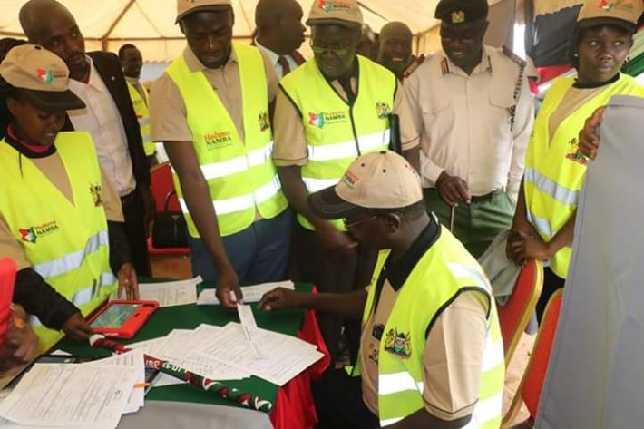 West Pokot Governor John Lonyangapuo registering for Huduma Namba