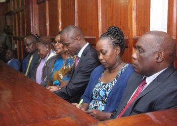 Former NLC boss Swazuri and the co-accused in court