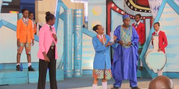 Students performing at the ongoing national drama fest