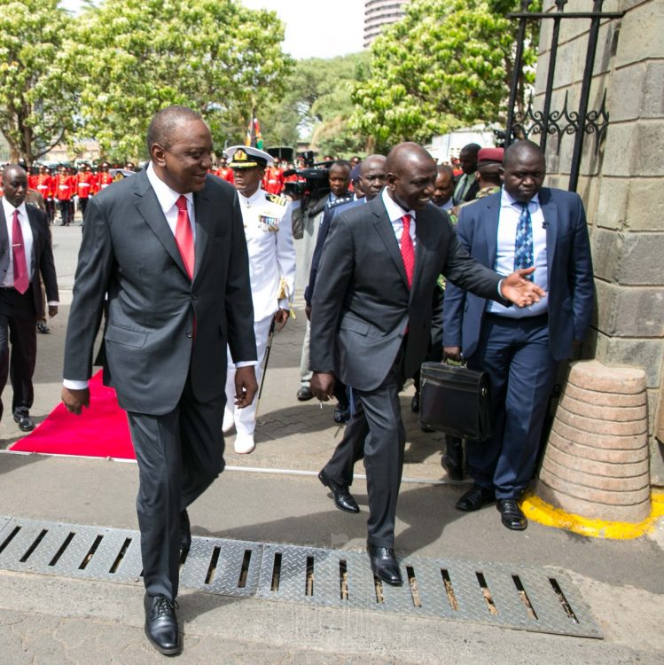 President Kenyatta when he arrived at parliament buildings. (Photo/PSCU)