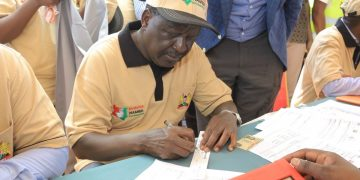 Raila Odinga at the Huduma Number registration at Likoni in Mombasa County