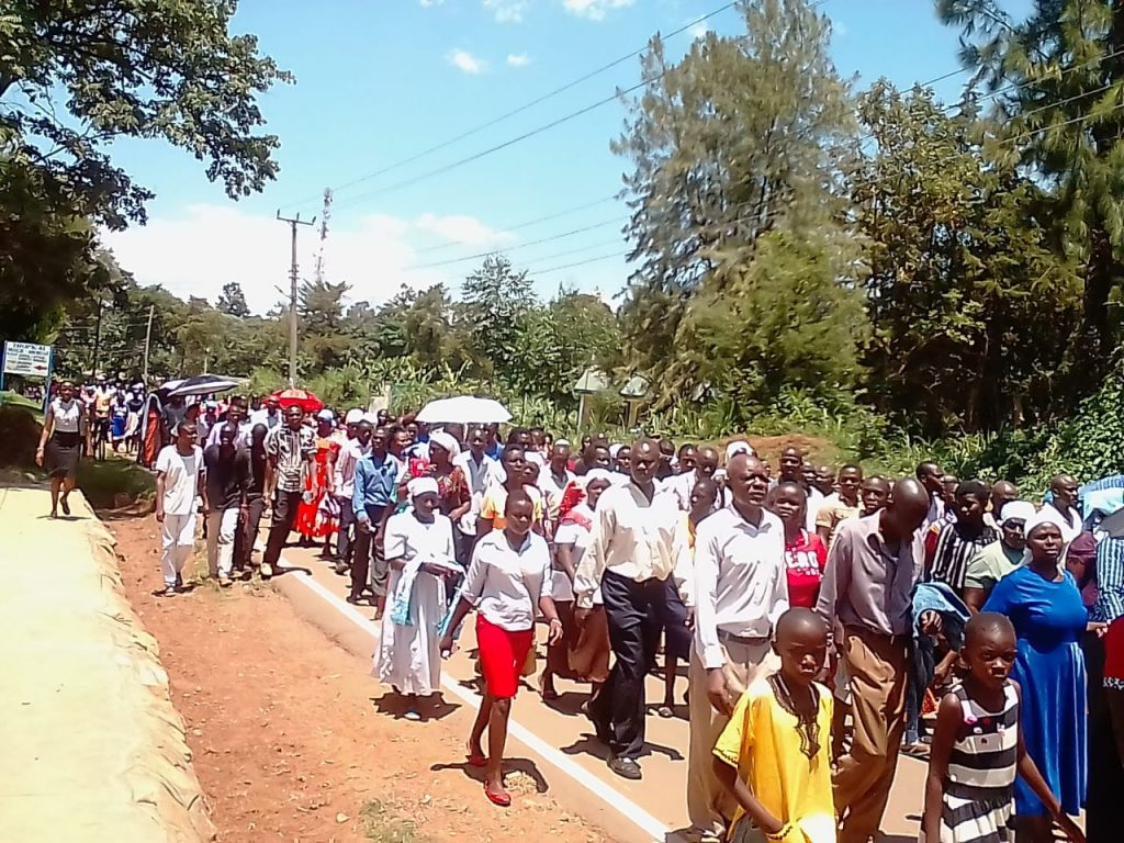 Kakamega Catholic Christians led by Bishop Joseph Obanyi on the way of the cross, marking Good Friday