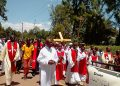 Catholic priests in Kakamega leading the way of the cross procession on Good Friday