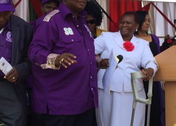 COTU Secretary General Francis Atwoli (centre) during the Labour Day fete