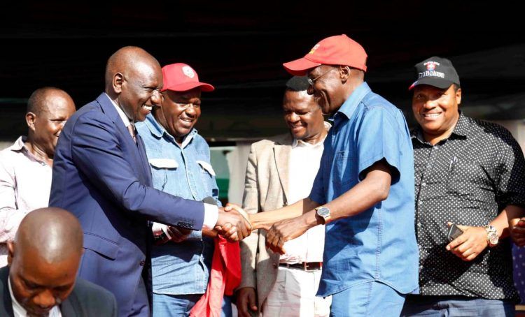 Deputy President William Ruto and former Kakamega Senator Boni Khalwale during the meeting at Malinya, Kakamega County. PHOTO/DPPS