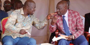 Deputy President Willliam Ruto and Trans Nzoia Governor Patrick Khaemba in Saboti. Photo/DPPS