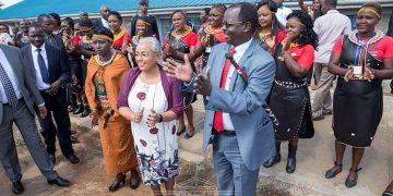 First Lady Margaret Kenyatta (centre) West Pokot Governor John Lonyangapuo (right) and West Pokot woman representative Lilian Tomitom (left). (Photo/PSCU)