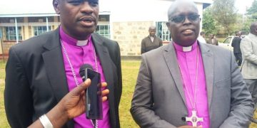 Kitale Diocese ACK Bishop Emmanuel Chemengich (left) with the Kapsabet Bishop Paul Korir (right)
