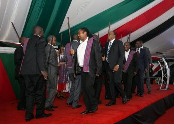 President Kenyatta joining a performance during the national prayer breakfast. PHOTO/PSCU