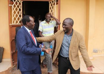 Vihiga Governor Dr. Wilber Ottichilo (left) and his chief of staff Noah Okaya (right) at Vihiga County Assembly building