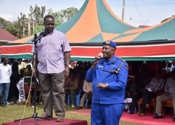 Interior CS Fred Matiang'i and the Police Inspector General Hillary Mutyambai in Matungu. Photo/NPS