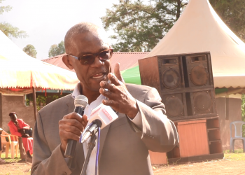 Tongaren MP David Eseli speaking at the funeral in Namunyiri, Soysambu