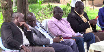Bungoma Deputy Governor Charles Ngome (centre) with CEC Mathews Makanda in Bumula