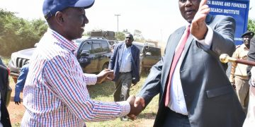 Deputy President William Ruto and Busia Governor Sospeter Ojaamong in Budalangi, Busia County. PHOTO/DPPS