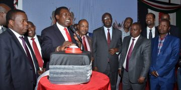 Devolution CS Eugene Wamalwa and Governors during the launch of the KDSP program. Photo/Courtesy