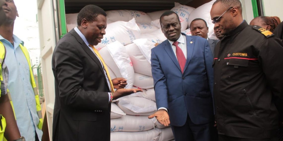 Devolution CS Eugene Wamalwa and other government officials received the 10,000 bags of rice from China. PHOTO/Courtesy