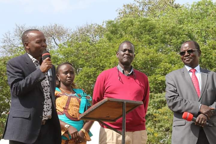 West Pokot County leaders were present at the prayer meeting, Governor John Lonyangapuo (right) and Senator Samuel Poghisio (second right)
