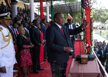 President Uhuru Kenyatta during the Madaraka Day celebrations at Narok. PHOTO/PSCU