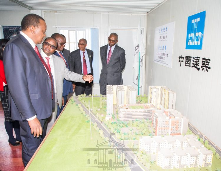 President Uhuru Kenyatta when he visited Parkroad Estate in Ngara where the government is setting up 1370 houses. PHOTO/PSCU