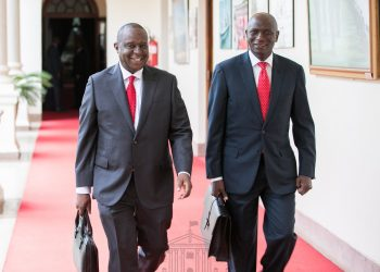 Treasury CS Henry Rotich and Energy CS Charles Keter at State House. PHOTO/PSCU