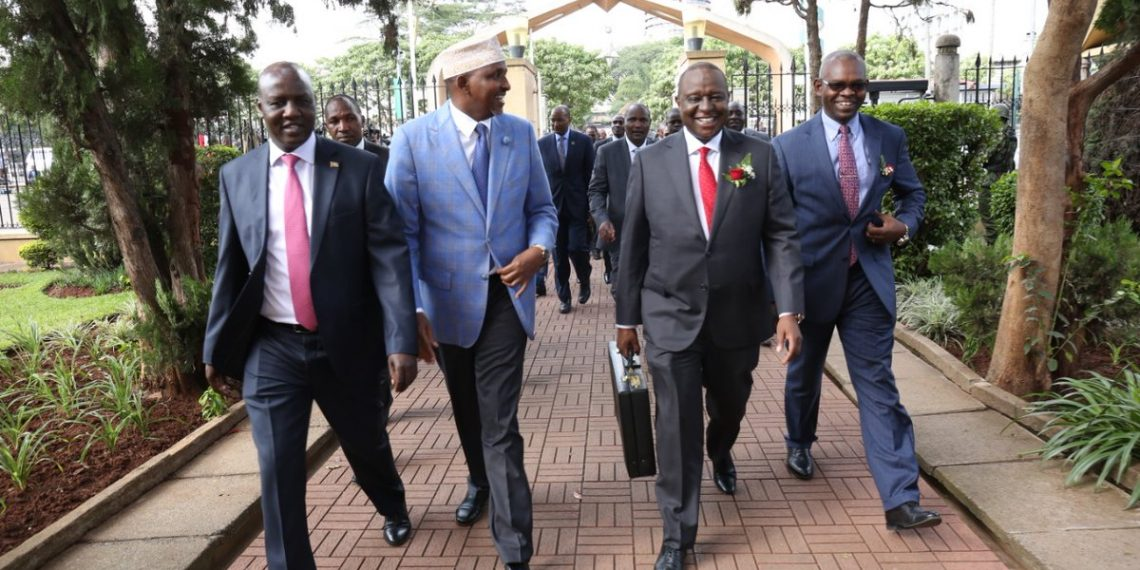 Treasury CS Henry Rotich and Majority Leader Aden Duale (centre) before the 2019/2020 budget estimates presentation in parliament. Photo/Courtesy