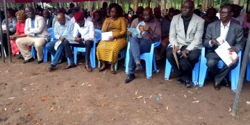 Bungoma Governor Wycliffe Wangamati (third left) and other leaders at the funeral