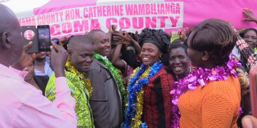 Bungoma woman rep Catherine Wambilianga (centre) when she met the women groups