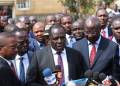 Council of Governors chairman Wycliffe Oparanya speaking to the press outside the Supreme Court. Photo/Courtesy