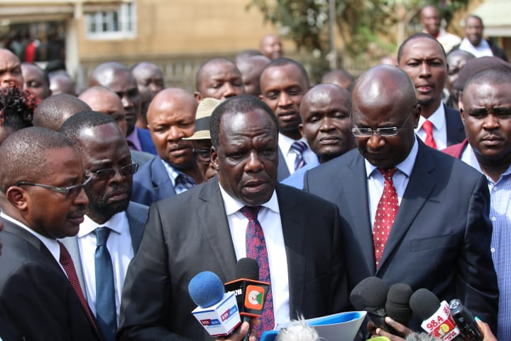 Council of Governors chairman Wycliffe Oparanya speaking to the press outside the Supreme Court after seeking the Court's direction on the Division of Revenue Bill 2019. Photo/Courtesy