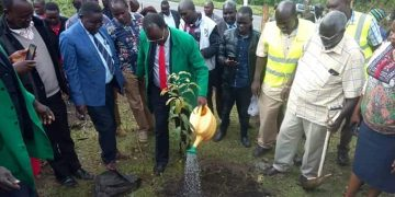 West Pokot Governor John Lonyangapuo(In green) during the exercise