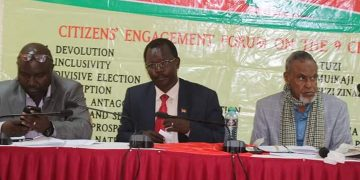 The BBI chairperson Yusuf Haji (right) next to West Pokot Governor John Lonyangapuo when the team visited the County