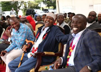 Majority Leader Aden Duale (centre) and Nandi Governor Stephen Sang (right) during the fundraiser. Photo/Courtesy