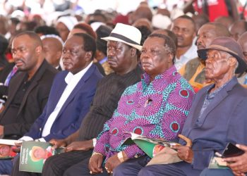 AU Envoy Raila Odinga, Vihiga Governor Wilber Ottichilo and COTU Sec Gen Francis Atwoli at the funeral