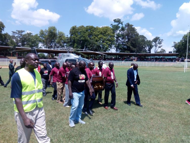 The late Joe Kadenge's was airlifted to Kakamega for viewing