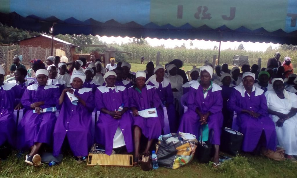 Siyenga Friends Quakers Church members leading the funeral service of the late Alex Waudo