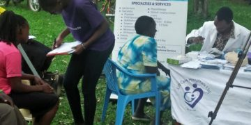 Medical tests offered by LifeCare hospital doctors at Chebuyusi during the Kakamega Mumbo FM umbrella launch