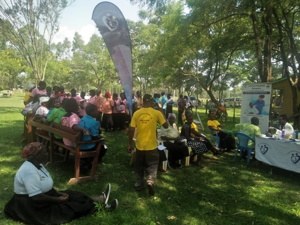 Mumbo FM fans in Navakholo constituency queuing to get free medical checkup services offered by Life Care hospital