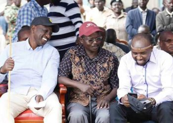 Deputy President William Ruto, West Pokot Governor John Lonyangapuo and Elgeyo Marakwet Senator Kipchumba Murkomen at the meeting