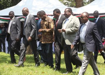 Kiminini MP Dr. Chris Wamalwa, ANC party leader Musalia Mudavadi, Bungoma Senator and Ford Kenya leader Moses Wetangula, Bungoma Governor Wycliffe Wangamati at the anniversary. Photo/Courtesy