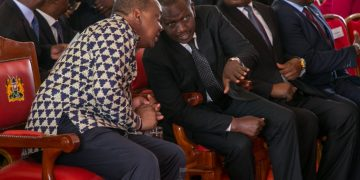 President Uhuru Kenyatta and Deputy President William Ruto at the memorial service of the late Joyce Laboso in Bomet County. Photo/PSCU