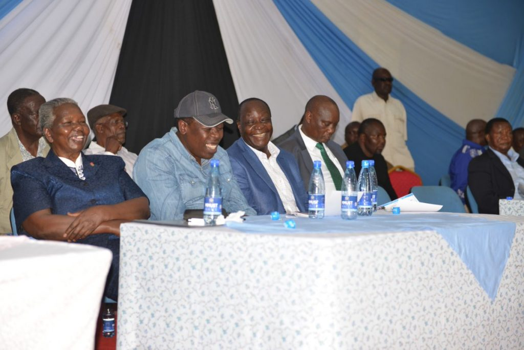 Some of the leaders present including Busia Governor Ojaamong, Vihiga Governor Ottichilo and Devolution CS Eugene Wamalwa. Photo/Courtesy