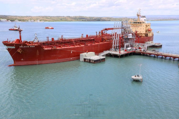 The Celsius Riga ship is ferrying the first consignment of crude oil. Photo/PSCU