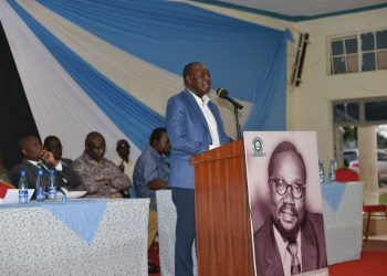 Vihiga Governor Wilber Ottichilo speaking at the memorial lecture for the late Masinde Muliro. Photo/Courtesy