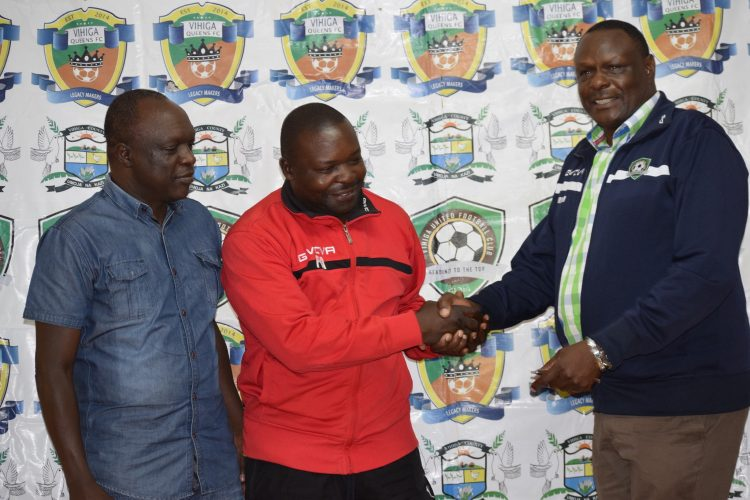 Vihiga United Chairman Kakhi Indimuli and the new head coach Sammy Okoth