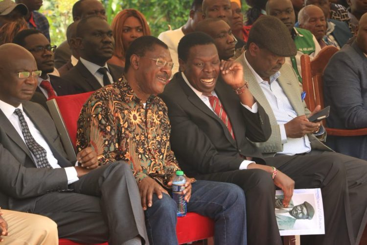 Bungoma Governor Wycliffe Wangamati, Bungoma Senator Moses Wetangula, Devolution CS Eugene Wamalwa and ANC party leader Musalia Mudavadi in a past function