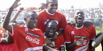 St Anthony's Boys Kitale players celebrating after their triumph in the Kenya secondary schools games