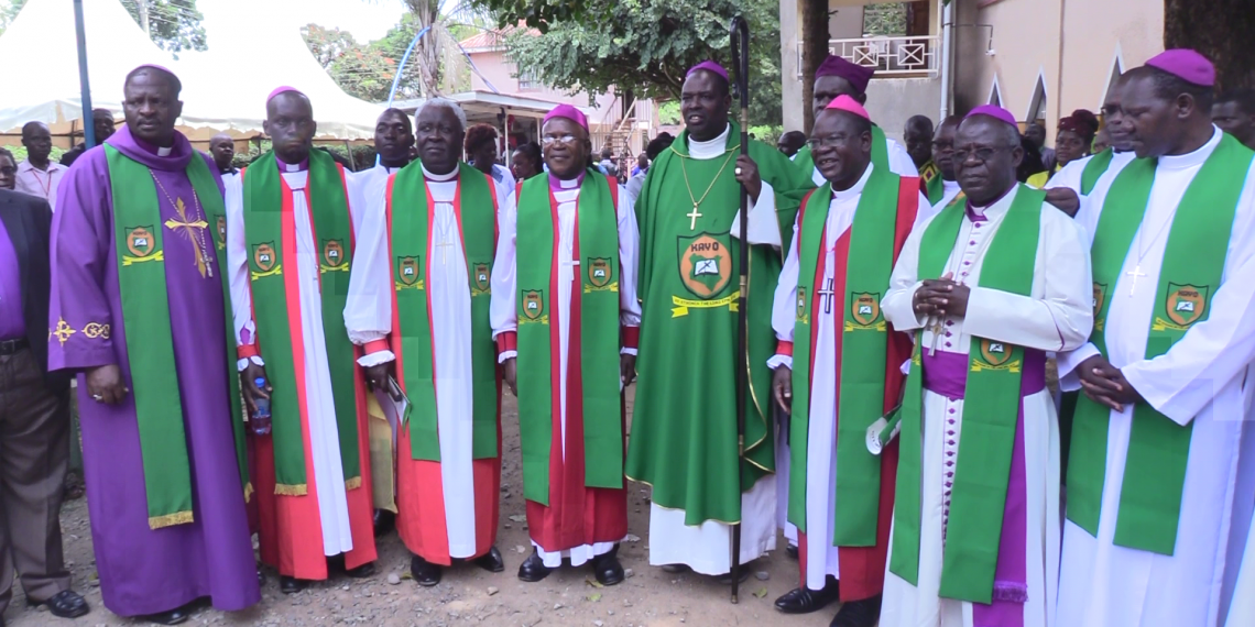 ACK Archbishop Jackson Ole Sapit (centre) with other church officials in Bungoma